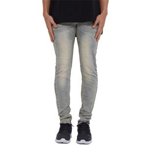 Mens Vintage Fashion Designer Jeans Moda Painéis Zipper Mens Fly Skinny Calças Lápis Roupa machos