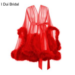 Kısa Tüy Bornoz Sabahlık Gelin Boudoir Sheer Robe Tül Illusion Doğum Günü Tüy Kostüm