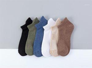 Athletic Short Socks Mens Pure Color Summer Socks Ankle Length Sports White Black Grey Brown Blue