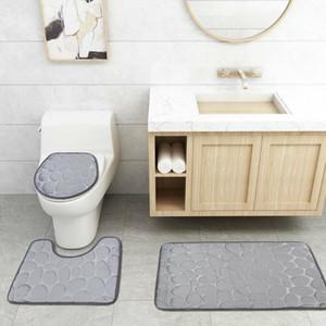 3pcs / set الرخام نمط الحمام بدون زلة مجموعات البساط دفع Pedstal Bush + حمام غطاء غطاء غطاء