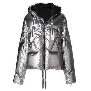 Veste D'hiver Lâche Sustans Femmes Vêtements En Coton Nouvelle À Capuche Surface Lumineuse Épaissir Chaud Outwear Court Parka Femme Manteau