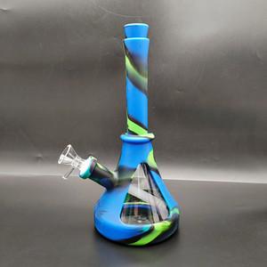 Silicone Les tubes de verre Bong eau Bongs Pipe en verre de forme de conduites d'eau Phare pipe couleurs multiples