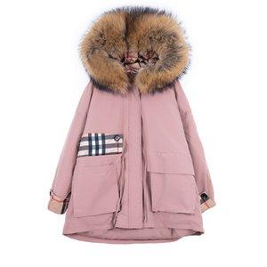 (TopFurMall) Европейские Женщины ветровки вниз пальто куртки с Real Raccoon Fur Lady Толстовка шаль Outwear Шинель LF9164 DT191029