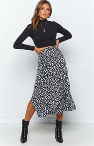 Progettista delle donne leopardo stampato Gonne Donna vita alta Zipper Gonna estate di contrasto di colore Split Up Dress