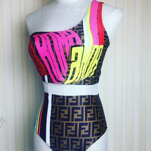 Mulheres Praia Bikini Set Moda de um ombro menina Swimwear Verão ao ar livre de cintura alta Terno para o partido