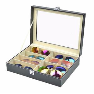 Design prático 8 Grades Sunglasses armazenamento caso de luxo PU Couro Homens Mulheres Sunglasses Shop exibição Caso Box Dropshipping