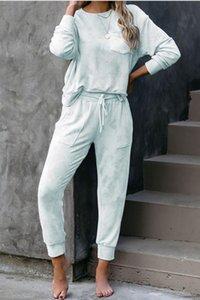 Caliente libera de pijamas Tiedye Crew para mujer corbata tinte pijama corto Define Conjunto teñido anudado de la ropa de noche femenina Tiedye impresión floral Bwkf