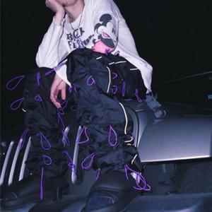Правая версия шнурок трехмерное моделирование спортивные брюки ветер Хай-стрит панк мужчины и женщины пара дизайнерские брюки HFWPKZ104