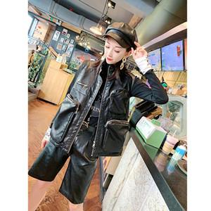 Женские жилеты 2021 Корейский дикий без рукавов кожаный куртка Свободные жилет Большой карманный молния женщин PU Top Wastcoat Colete Feminino