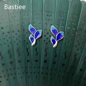 Bastiee 999 Sterling Silver Leaf saplama Küpe İçin Kadınlar emaye işi Emaye Earing Takı Hmong El Yapımı Hanfu Aksesuarları
