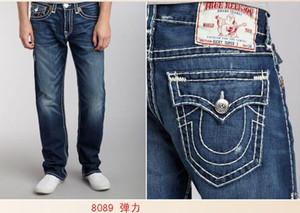 Herren-Jeans mit geradem Schnitt Lange Hose Hosen der Männer Wahre Coarse Linie Religion Jeans Kleidung Mann beiläufige Bleistift-Hosen-Blau Schwarz-Denim-Hosen tr5