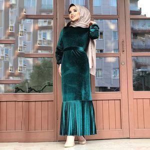 Abaya Muslim Fashion Elegant Velvet Simple Belt Women's Dress Islam Saudi Arabia Ramadan High Waist Dress Kaftan Robe