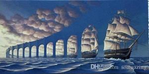 Gerahmte ROB GONSALVES - SUN SETS SAIL, Amazing Seascape SAIL Kunst hochwertige handgemachte Ölgemälde auf Leinwand Multi Größen / Frame-Optionen Sc039