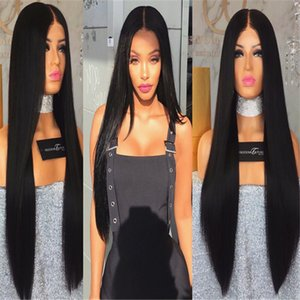 8A NEW Hand Tied High Ponytail Virgin Indian Long Full Lace Wigs Glueless Lace Front Human Hair Wigs Silky Straight with 150% Density
