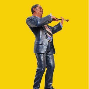 Violinista Estatua Músico Figura Resina Músicos Estatuilla Músico Souvenir Oficina Escaparate Ventana Sala Decoración