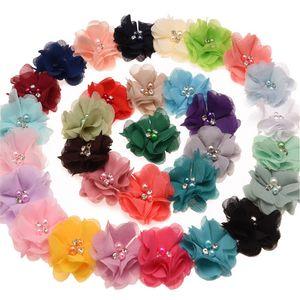 33colors en mousseline de soie fleurs avec perles Centre strass fleurs artificielles en tissu Fleurs Enfants Accessoires cheveux bébé Bandeaux Fleur M1832