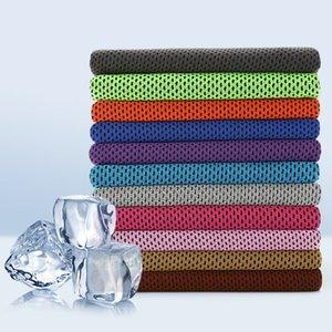 10 colores toalla fría de hielo de 30 * 80 cm de capas dobles de secado rápido transpirable suave toalla de refrigeración en verano Anti Sunstroke Deportes Toallas ZZA2318 50Pcs