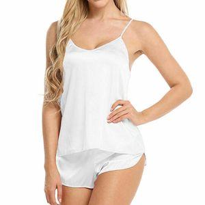 Frauen Silk Satin Pyjamas Set Nachtwäsche Shorts Babydoll Nachtwäsche Dessous Sexy Satin Sling Nachtwäsche V-Ausschnitt Unterwäsche