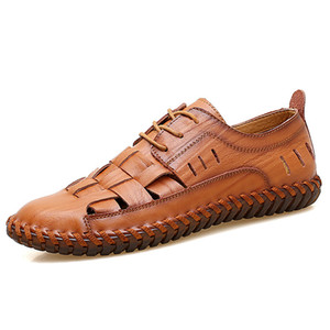 Summer Men's Shoes New 2019 Men Casual Shoes Genuine Leather Breathable Holes Hollowed Men Sandals Men Flats Chaussure Homme 2A