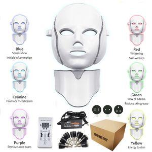 7 컬러 LED 전자 광자 주도 목 피부 회춘은 주름 방지 여드름 여드름 치료 광자 피부 미용 마스크 마스크