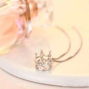 Exquisite clavicle chain women's banquet jewelry crown copper inlay zircon high quality fashion necklace best birthday gift wholesale