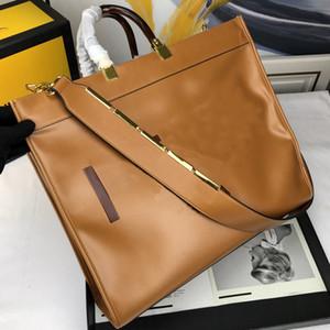 Bolsos monederos bolsas grandes de paquete de capacidad de la alta calidad de la piel de vacuno genuino llano bolsas de la compra de piezas de metal envío libre