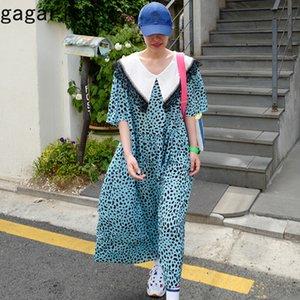 Gagarich Loose Women coréenne Style chic rétro dentelle Brochage conception lâche imprimé léopard floral Robes longues Robe Mesdames