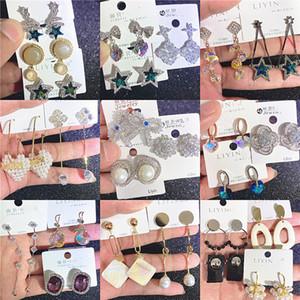New 925 Silver Needle Simple Earrings Austrian Crystal Earrings Korean Small Fresh Earrings Micro Inlaid Zircon Mixed Wholesales DHL Free