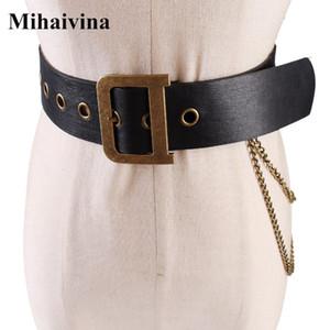 Mihaivina Mulheres De Couro Pu Cinto Das Senhoras Da Moda Punk Hip-hop Cintos Da Cintura Do Vintage D Fivela Jeans Calça Cadeia C19041101
