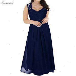 Hot Sales Women Elegant Lace Top Deep V Neck Chiffon Party Dress Vintage 3 4 Sleeve Plus Size 8Xl 9Xl Long Maxi