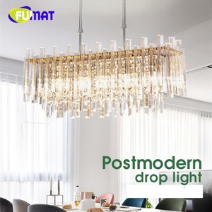 FUMAT Crystal K9 Lámparas Colgantes Creatividad Lámpara Colgante E14 LED Swing Pipe Moderno Cuadrado Redondo Iluminación Comedor
