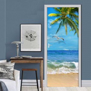 3D Door Sticker Beautiful Seaside Landscape Wall Door Mural Living Room Bedroom Creative DIY Self-Adhesive PVC Vinyl Wallpaper