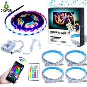 LED TV Back Light 5050 1M 2M DC5V RGB LED Strip Light WIFI Music Controller And USB Cable