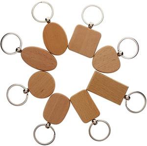 DHL Versand Holz Keychain Auto-Anhänger-Charme-Schlüsselanhänger DIY Holz Schlüsselanhänger Rund Quadrat Herz Oval Rechteck-Geschenk Kundenspezifisches Logo D274L F
