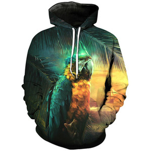 Men Hoodie Parrot 3D Digital Full Printed Long Sleeves Hooded Sweatshirt Tops