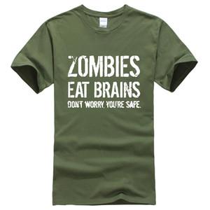 Мужские футболки Zombies Ешь Мозгов напечатаны летом случайная смешно бренд-одежда футболку для мужчин SPORTWEAR футболки Harajuku верхнего