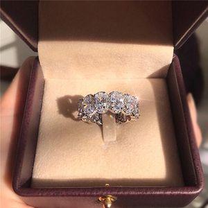 Impressionante Edição Limitada Eternity Band Promise Ring 925 prata esterlina 11 Pcs Oval Diamante cz Anéis de Noivado Para As Mulheres