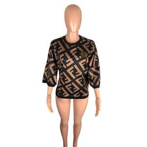 Printemps Eté femmes casual vêtements chemises Alphabet Imprimer lettre sept points corne manche T-shirts tops taille XS-3XL