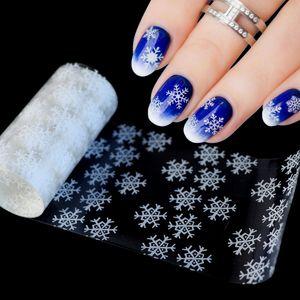 Pegatinas etiquetas baratas 120x4cm Patrón de Navidad para el clavo etiqueta engomada de papel copo de nieve de la hoja de la estrella 3D láser Glitter Nail Art Láminas de Transferencia