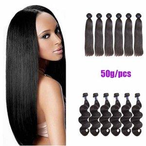 8a 말레이시아 버진 헤어 위브 5/6/8 개 로트 50G / PCS 자연 블랙 바디 웨이브 Straight Cheap Indian Indian Hair Extension
