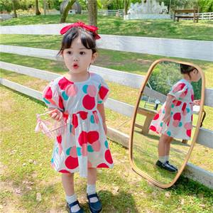 2020 Children's Polka Dot Print Puff Sleeve O Neck Summer Girls Dress Kids Causal Dresses vestidos