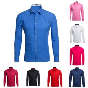 Business Dress Shirts For Men Turn-down Collar Long Sleeve Button No Pocket Solid Color Evening Prom Regular Fit Shirts Male