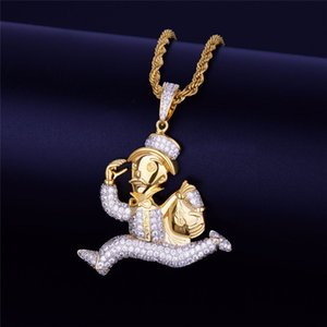 Iced Out Running Man Wallet Pendant Necklace Full Clear Cubic Zircon Hip Hop Rock Jewelry For Men Party