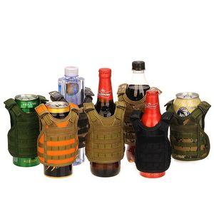 7 Couleur Mini veste tactique extérieure Molle Gilet de vin Bouteille de bière couverture Gilet boissons Cooler poignée réglable Drinkware 30pcs CCA11708-A