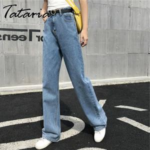 Tataria New Women Wide Legs Jeans Women High Waisted Boyfriend Jeans Femalel Ankle-length Straight Denim Pants Loose Casual
