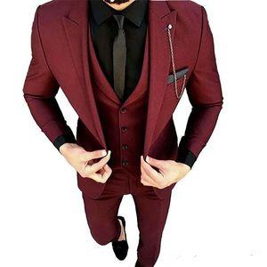 Nouveau Bourgogne Groom Porter pointe Lapel smokings marié One Button Groomsmen meilleur homme costume peau des hommes de mariage (veste + pantalon + veste + Tie) 597