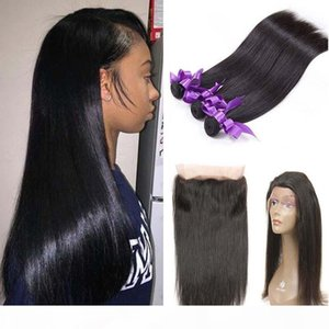 Brazilian Virgin Hair Weave Straight Hair 360 Lace Frontal with 3 Bundles 100% Unprocessed Brazilian Virgin Human Hair Extensions Deals