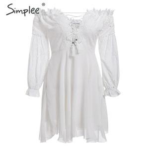 Simplee fora do ombro bordado lace up mulheres dress verão manga lanterna oco out dress festa celebridade branco curto vestidos