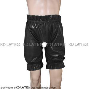 Siyah Seksi Lateks Bloomers Uzun Bacak Boxer Şort ile gevşekçe Büzgü Dikişi Fetiş Kauçuk Boy Şort Külotlar İç Kölelik Pantolon DK-0074