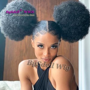 Nueva llegada celebridad Ciara metgala peinado peluca sintética afro rizado rizado dos flequillo pelucas delanteras del cordón del pelo mullido para las mujeres negras